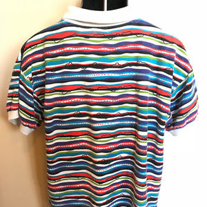 Vintage Shirts - 90s Ellesse Stripe Polo Shirt Colorful Rugby Surf